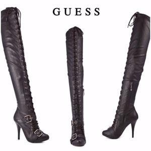 GUESS Oriska Thigh-High Lace-Up Black Boots